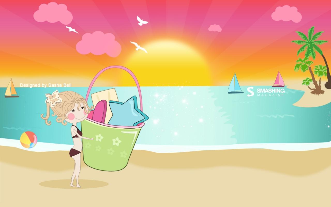 Little girl on the beach summer wallpaper 1280x800