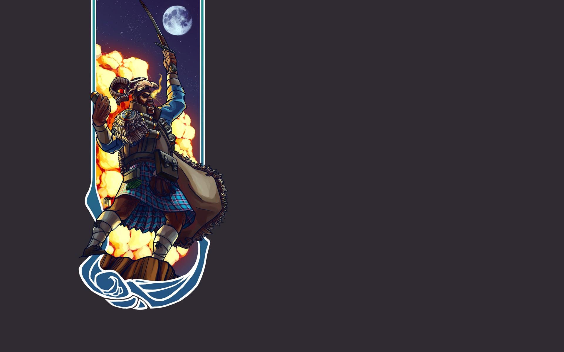 minimalism Video Games Team Fortress 2 Demoman Wallpapers HD 1920x1200