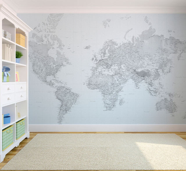 World map wallpaper for kids wallpapersafari black and white world map wallpaper eclectic wallpaper london sciox Image collections