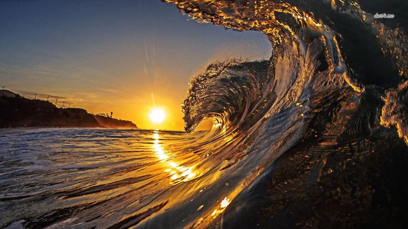 Home sunset beach sunset beach hawaii waves 1366x768
