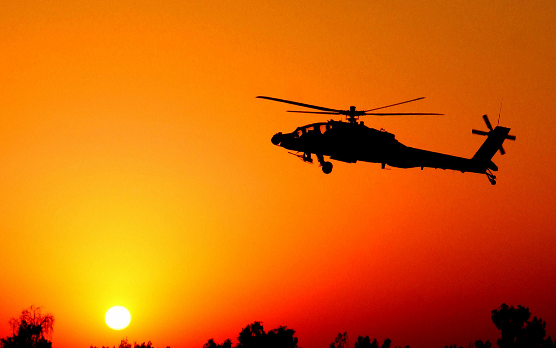 Wallpaper helicopter silhouette sunset Camp Taji Iraq Boeing AH 1920x1200