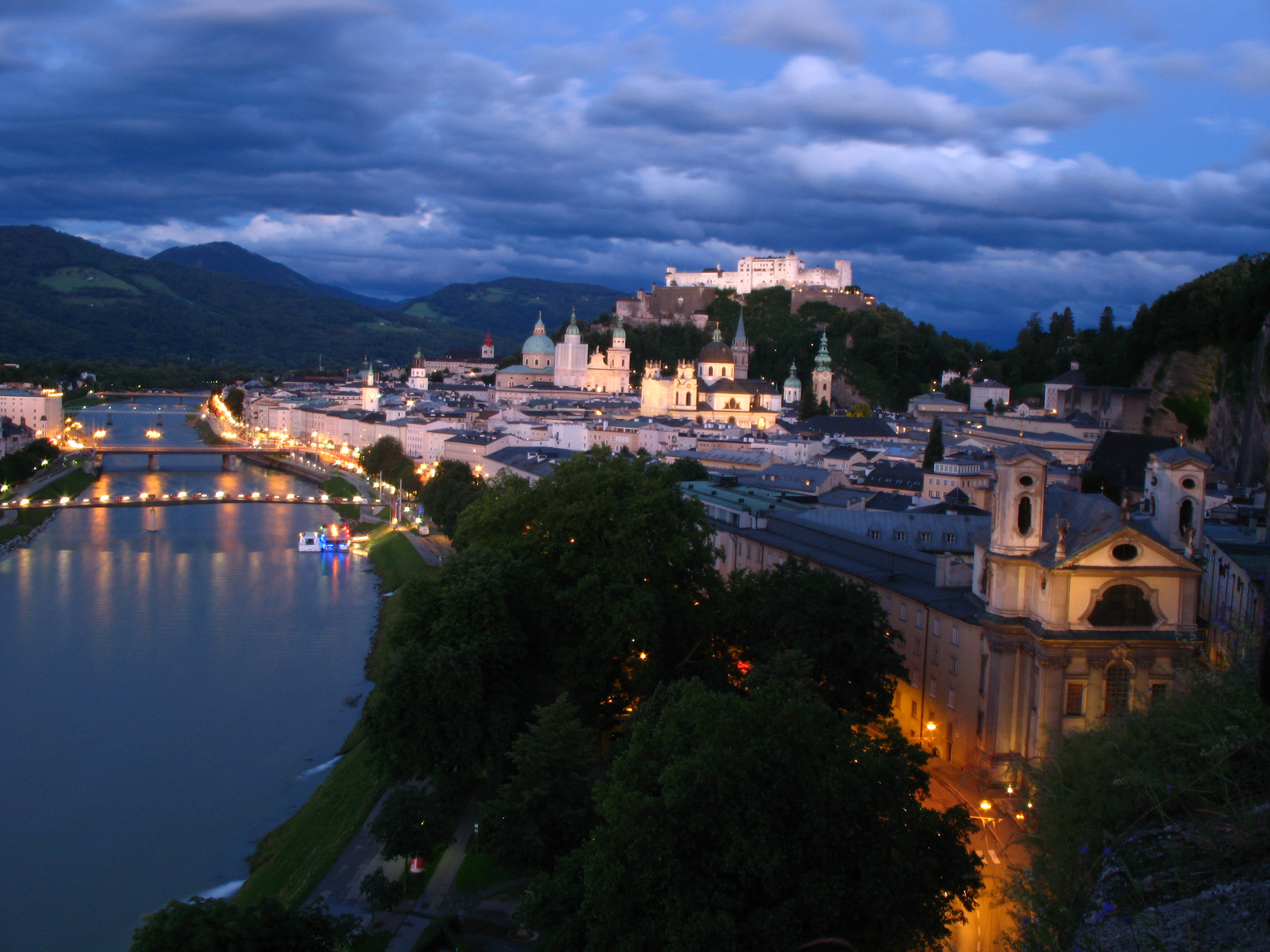 Download Night street in Salzburg Austria wallpapers and images 3648x2736