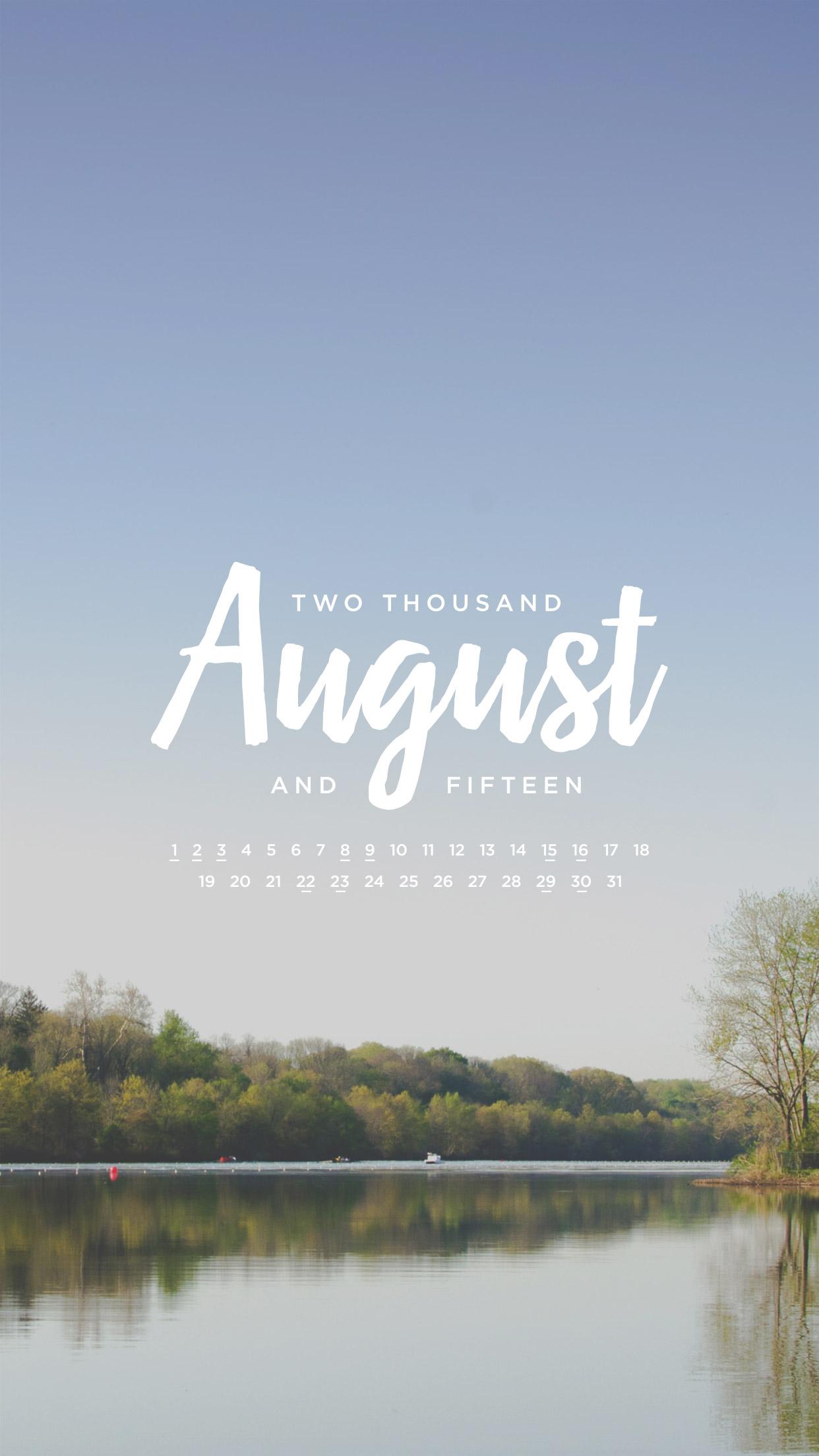 August 2015 Desktop Calendar Wallpaper Paper Leaf 1242x2208