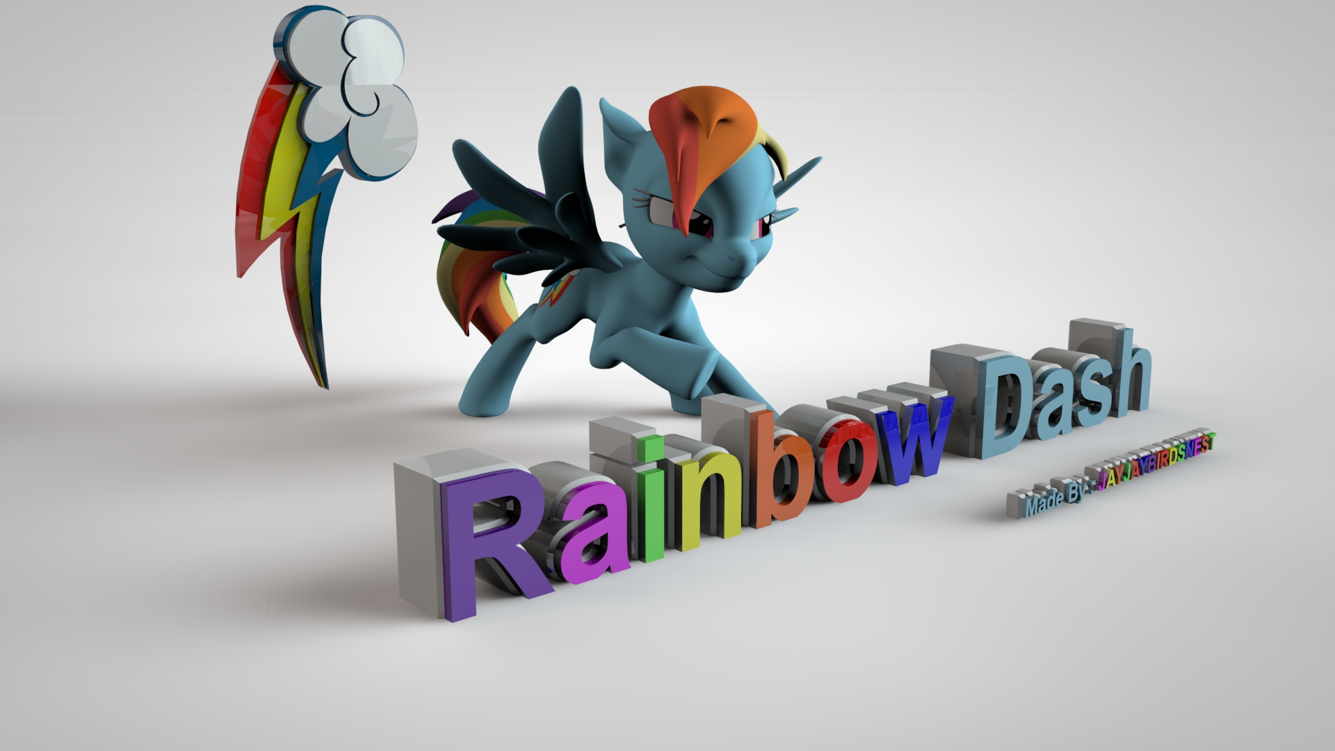 My Little Pony FIM 3D Rainbow Dash Wallpaper by jayjaybirdsnest on 1920x1080