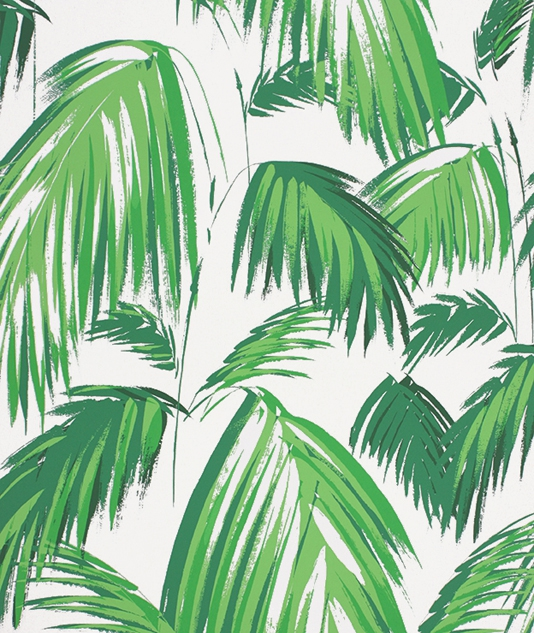 distinctive wallpaper with stylised grass green palm leaves 534x633