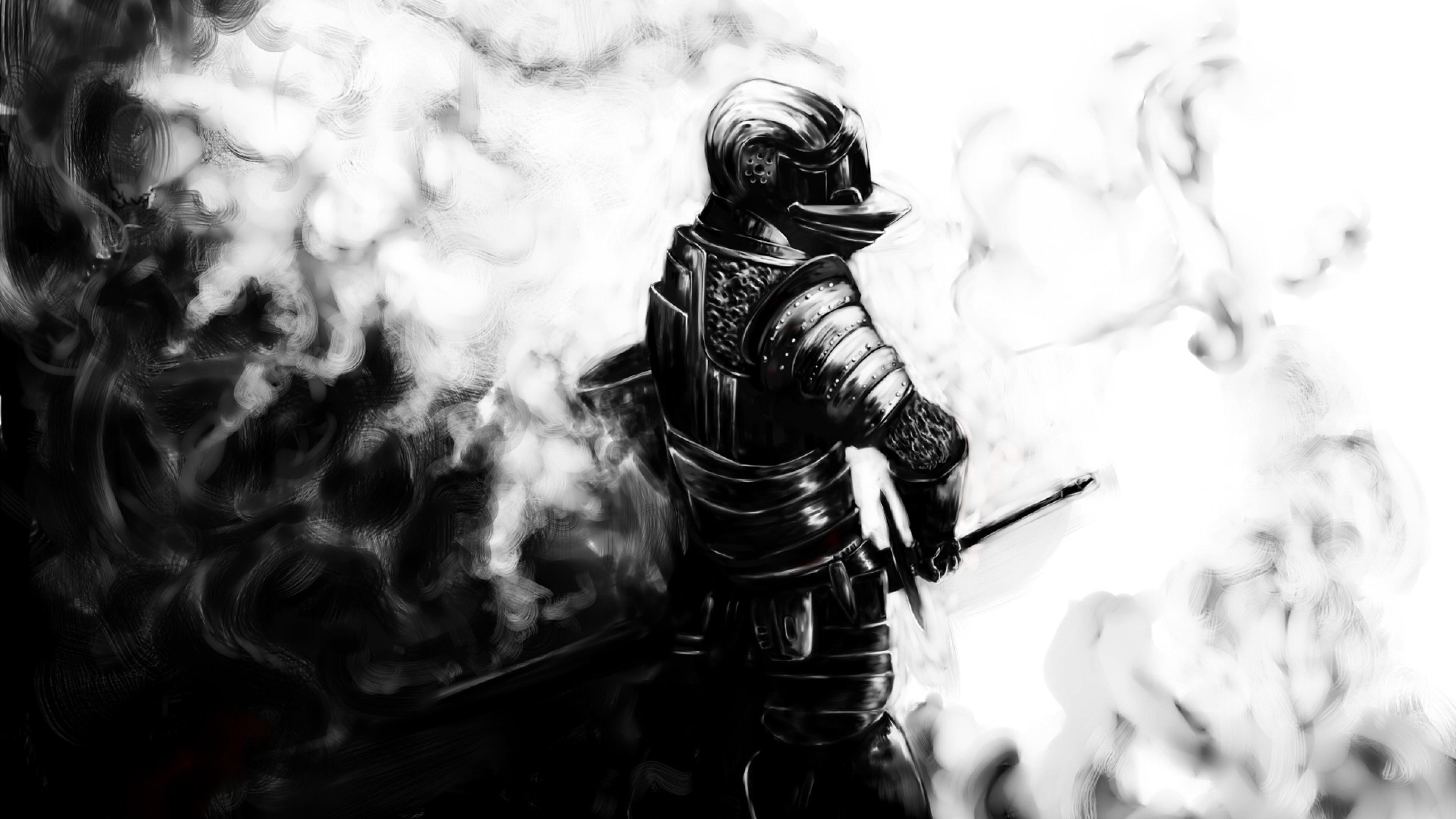 dark souls knight sword armor helmet 3840x2160