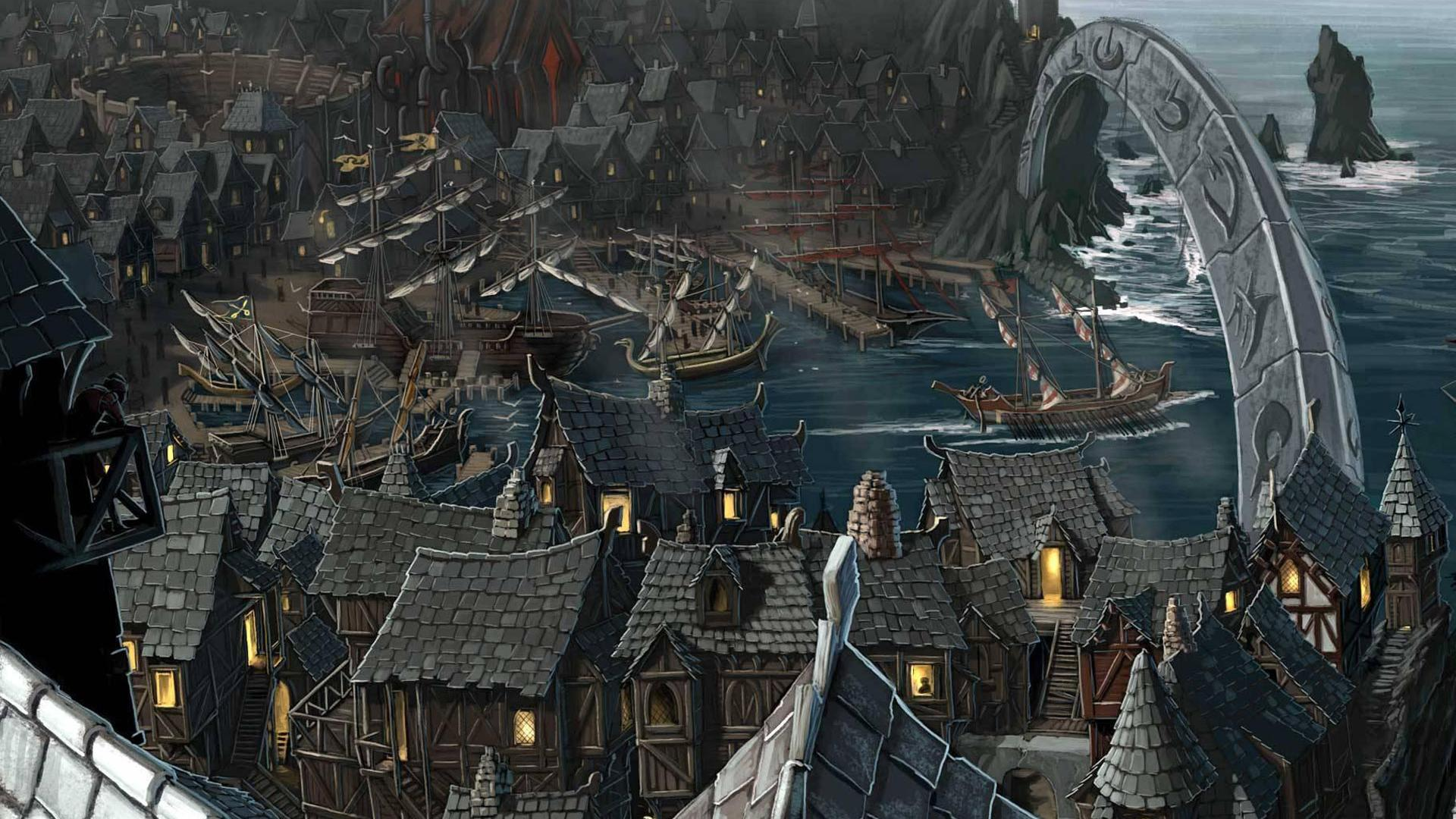 Download Wallpaper Riddleport town in RPG Pathfinder 1920 1920x1080