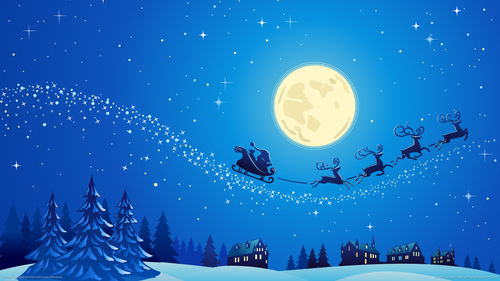 Download 1600x900 Santa Into The Winter Christmas Night 2 Wallpaper 1600x900