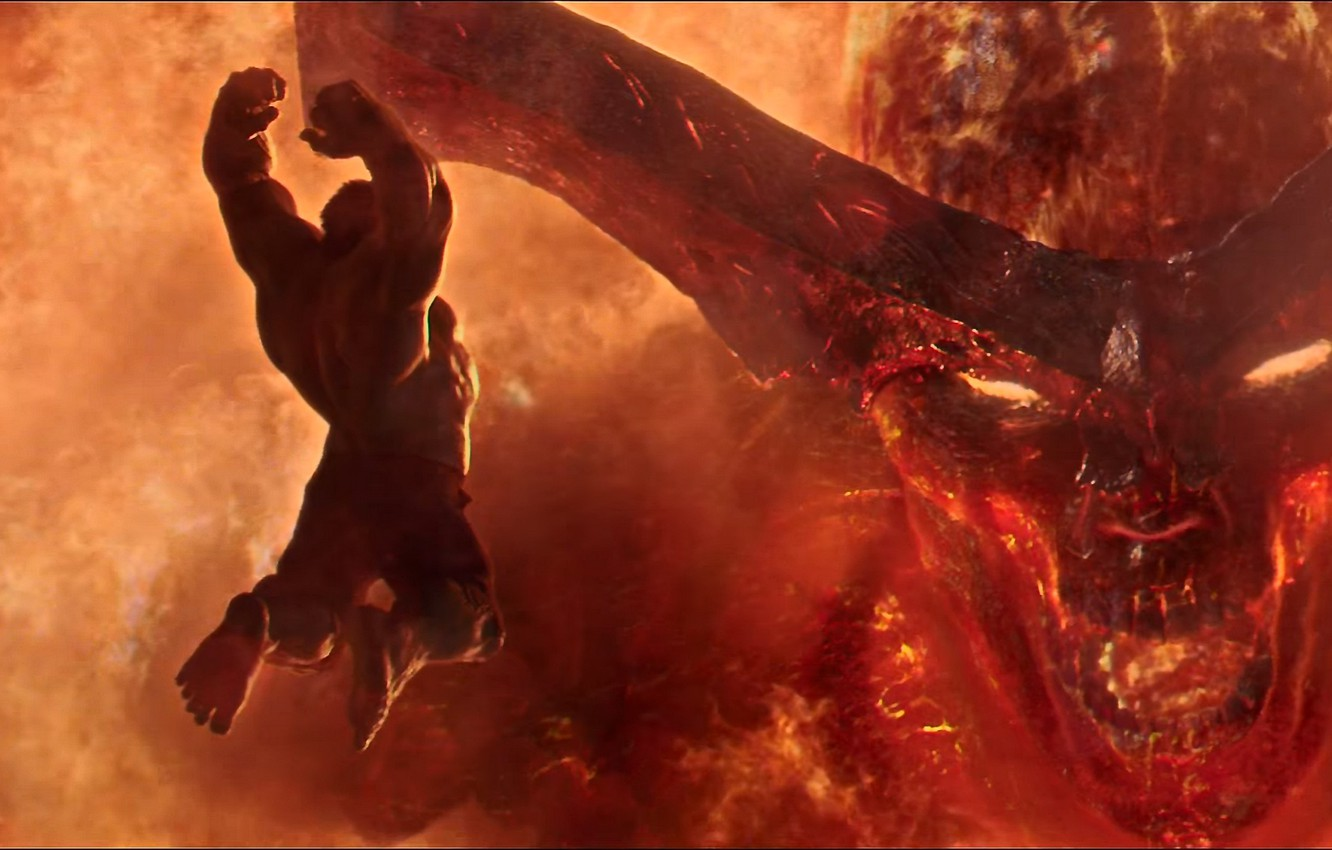 Wallpaper demon fire battle horns Hulk Marvel fight hero 1332x850