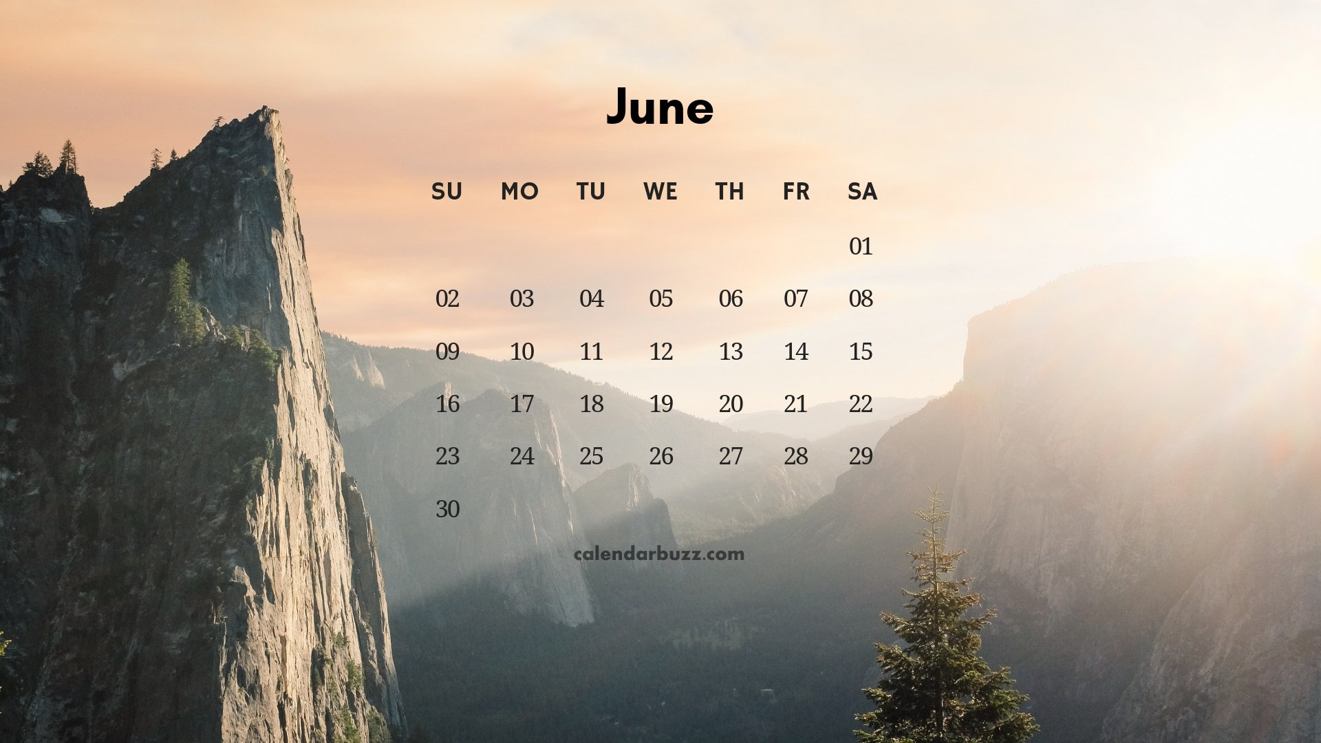 June 2019 Calendar HD Wallpapers and Background Images YL Computing 1920x1080