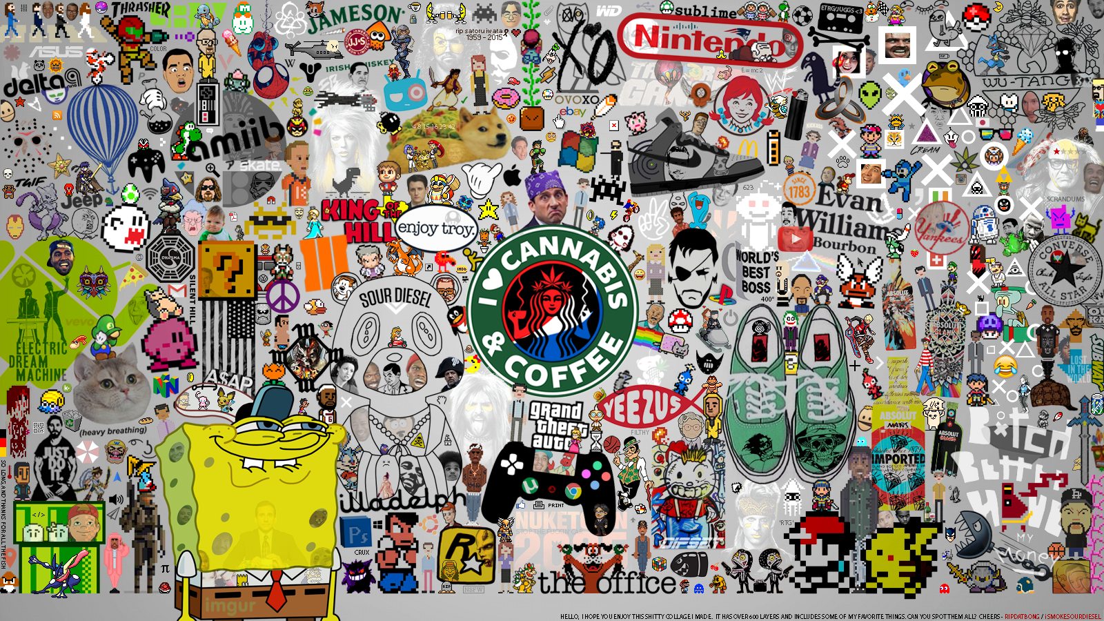 600 layer photoshop wallpaper collage  OC  things I love 1600x900