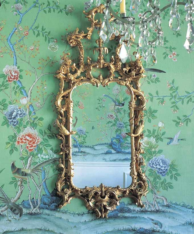 De Gournays famous chinoiserie wallpaper complete with rococo mirror 682x823