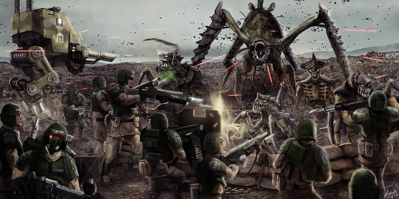 tyranids vs imperial guard battle image   Dark ForceScience Fiction 1300x650
