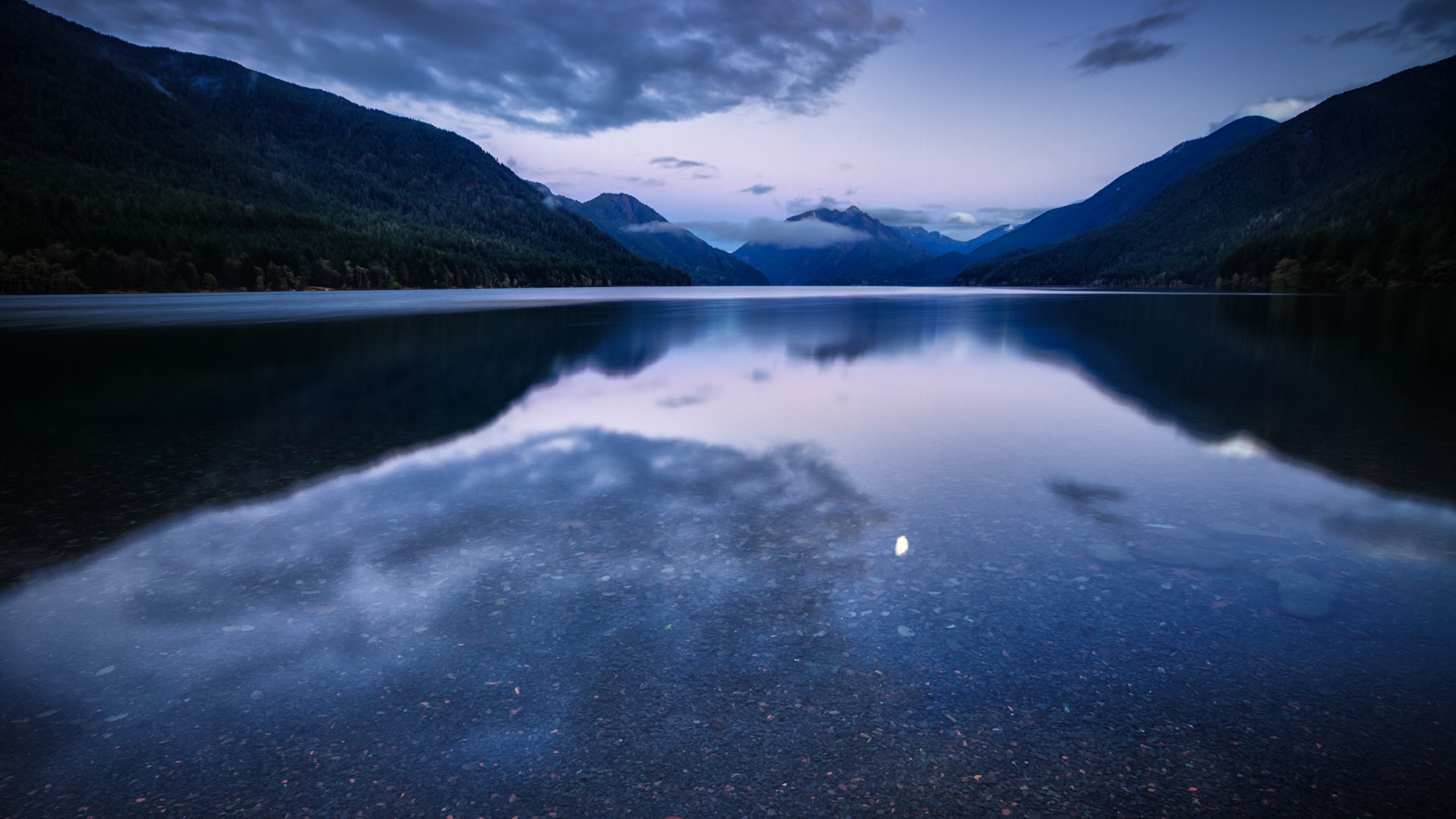 Wallpaper 3840x2160 night lake mountains water reflection 4K 3840x2160