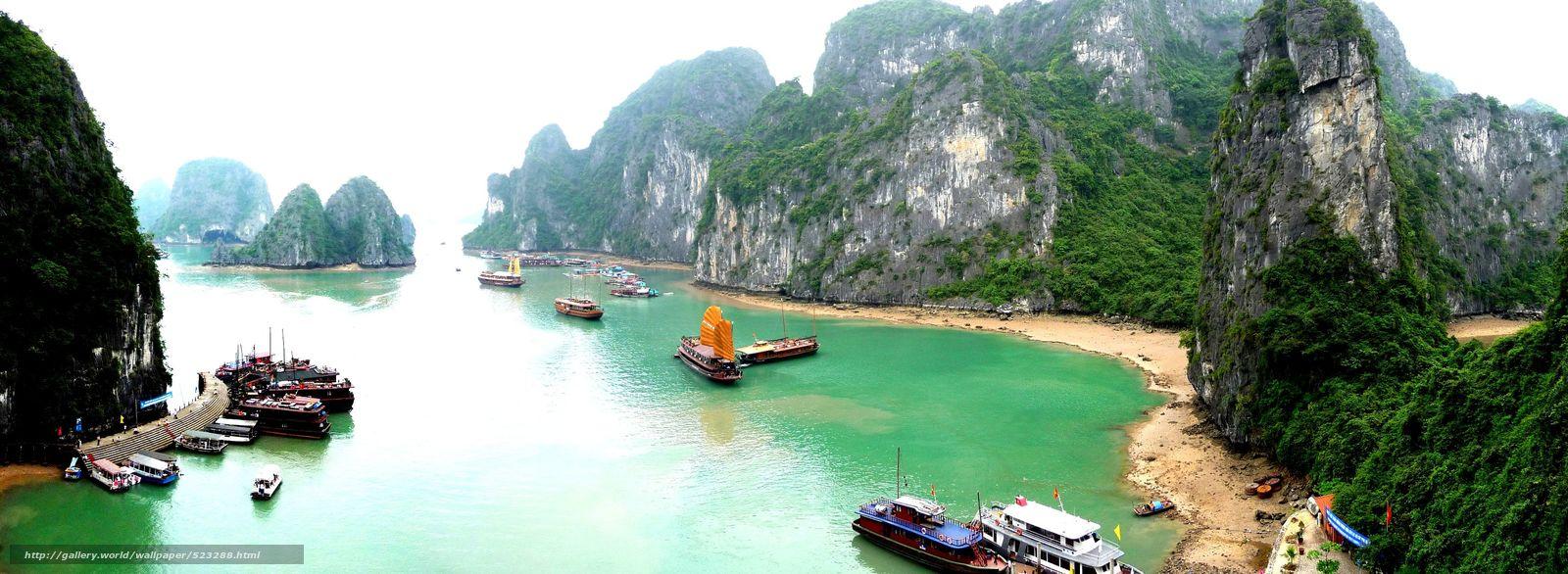 Download wallpaper Vietnam Mountains Boat desktop wallpaper in 1600x586