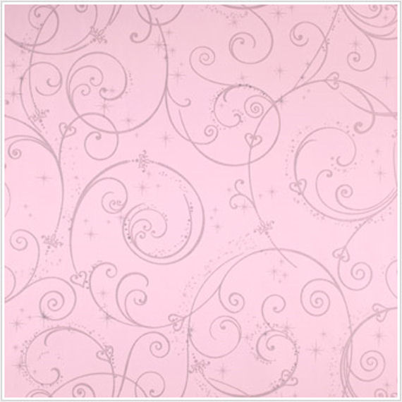 Perfect Princess Pink Glitter Scroll Walpaper   Wall Sticker Outlet 570x570
