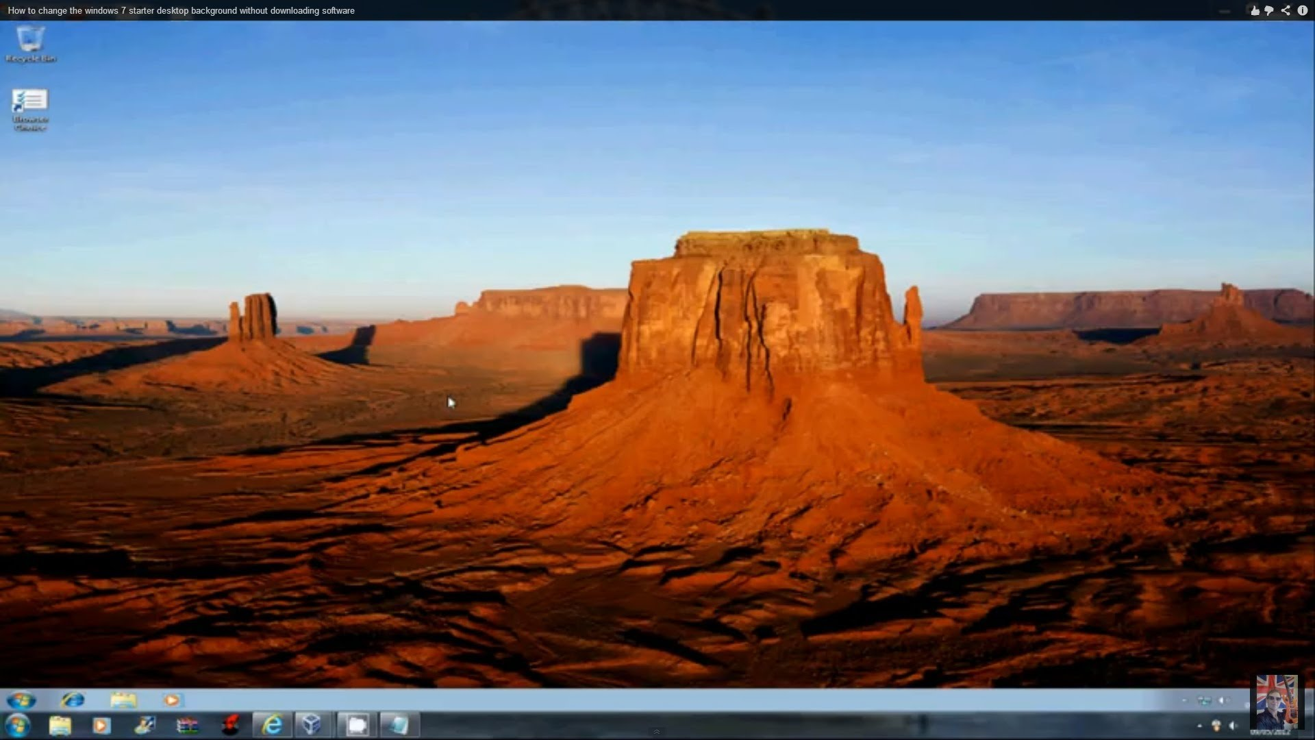 How to change the windows 7 starter desktop background without 1920x1080
