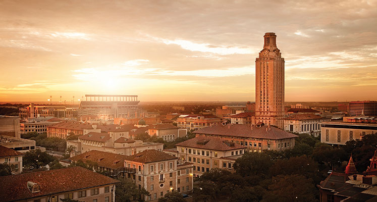 The University of Texas at Austins iconic Tower stands tall in the 747x400