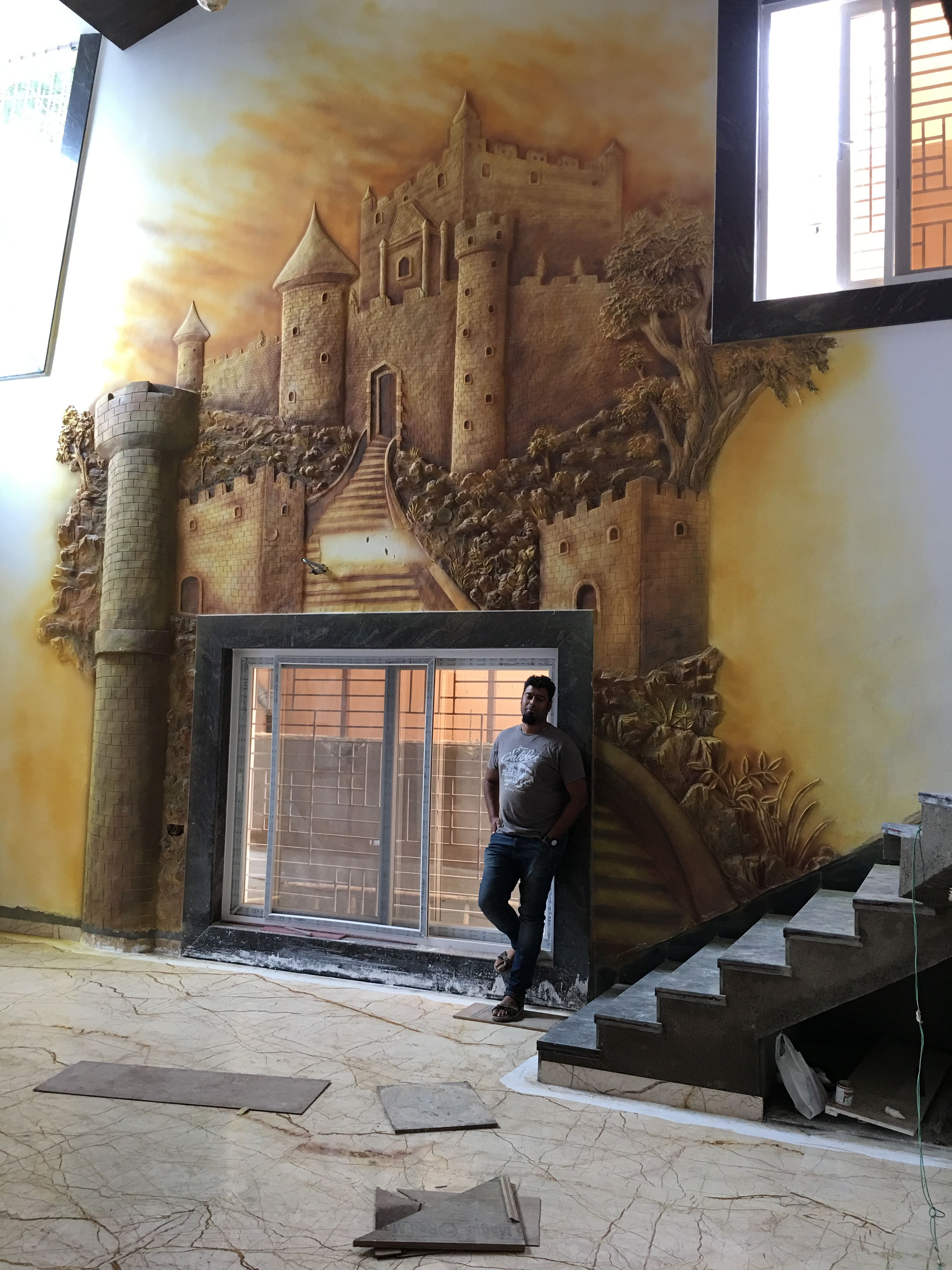 Dry wall mural in drawing hall of bangalow Mural Wall murals 3024x4032
