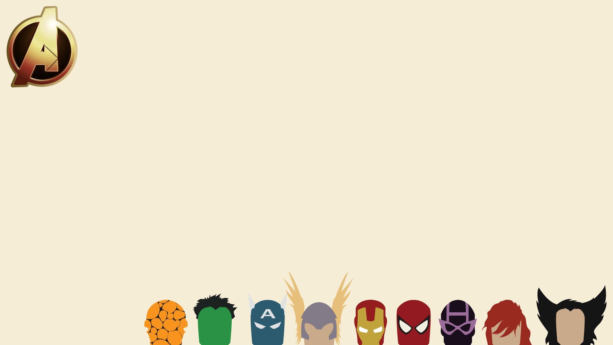 Minimalistic Avengers comics Marvel Comics wallpaper 2048x1152 2048x1152