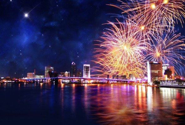 Wallpaper Jacksonville Florida night fireworks bridge skyscrapers 590x400
