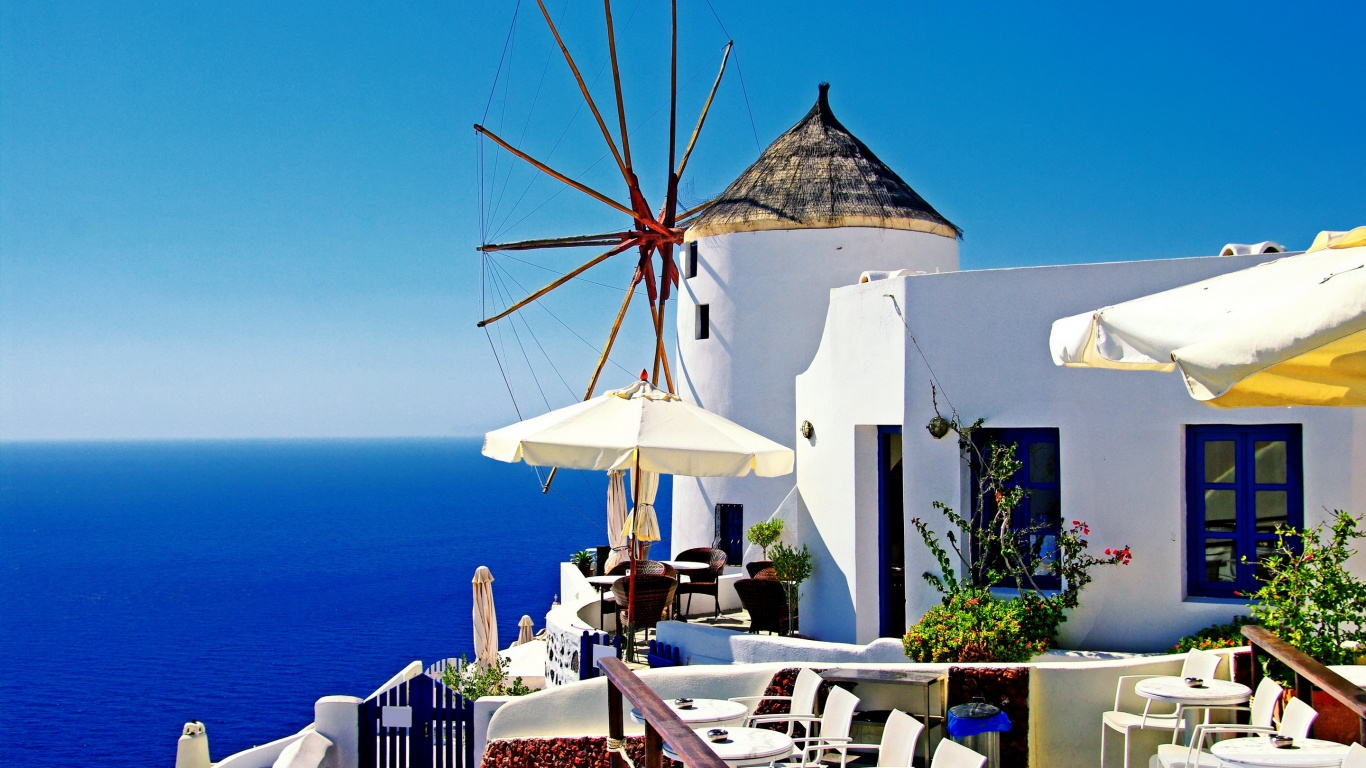 Santorini Windmill Cafe 4K HD Desktop Wallpaper for 4K Ultra HD 1366x768