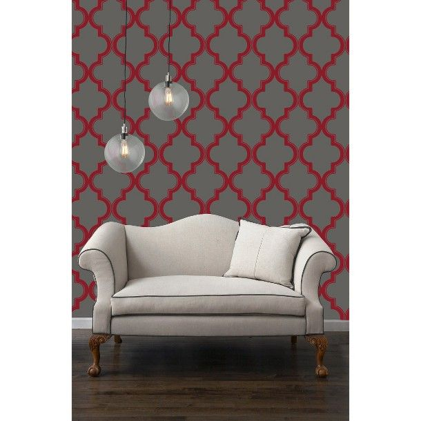 Tempaper Marakkesh Peel and Stick Wallpaper   RedGray 610x610