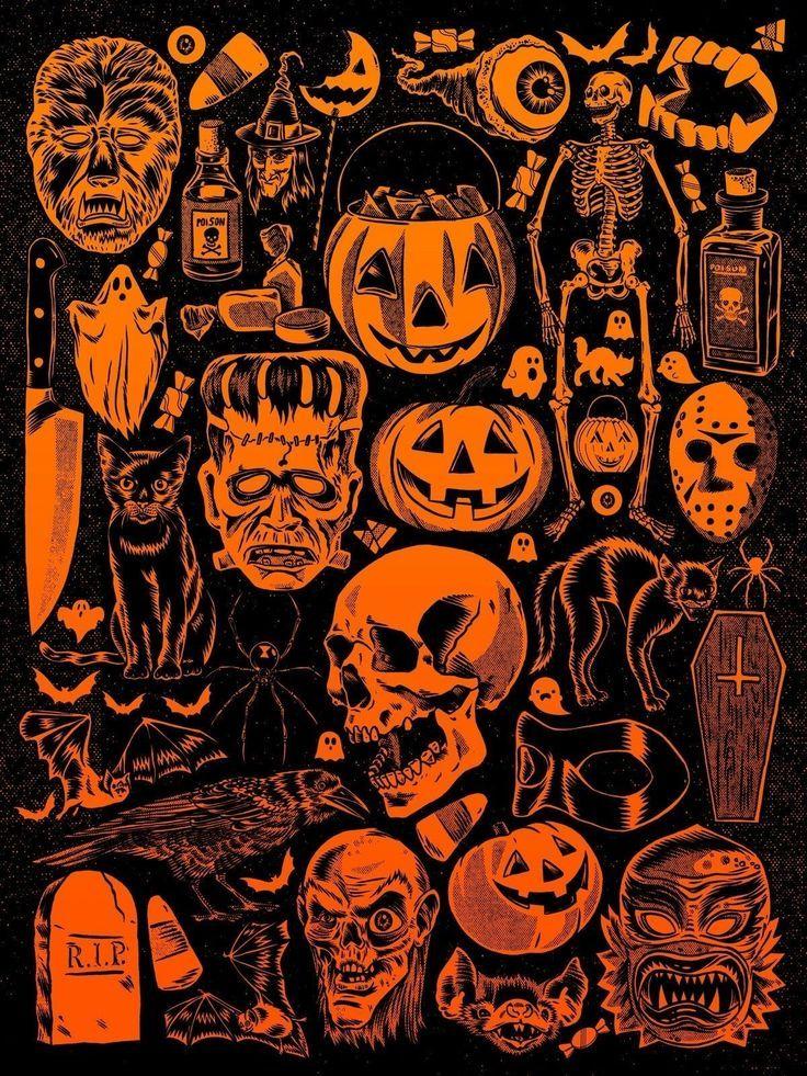 Vintage Halloween Wallpaper Costumes in 2020 Halloween wallpaper 736x981