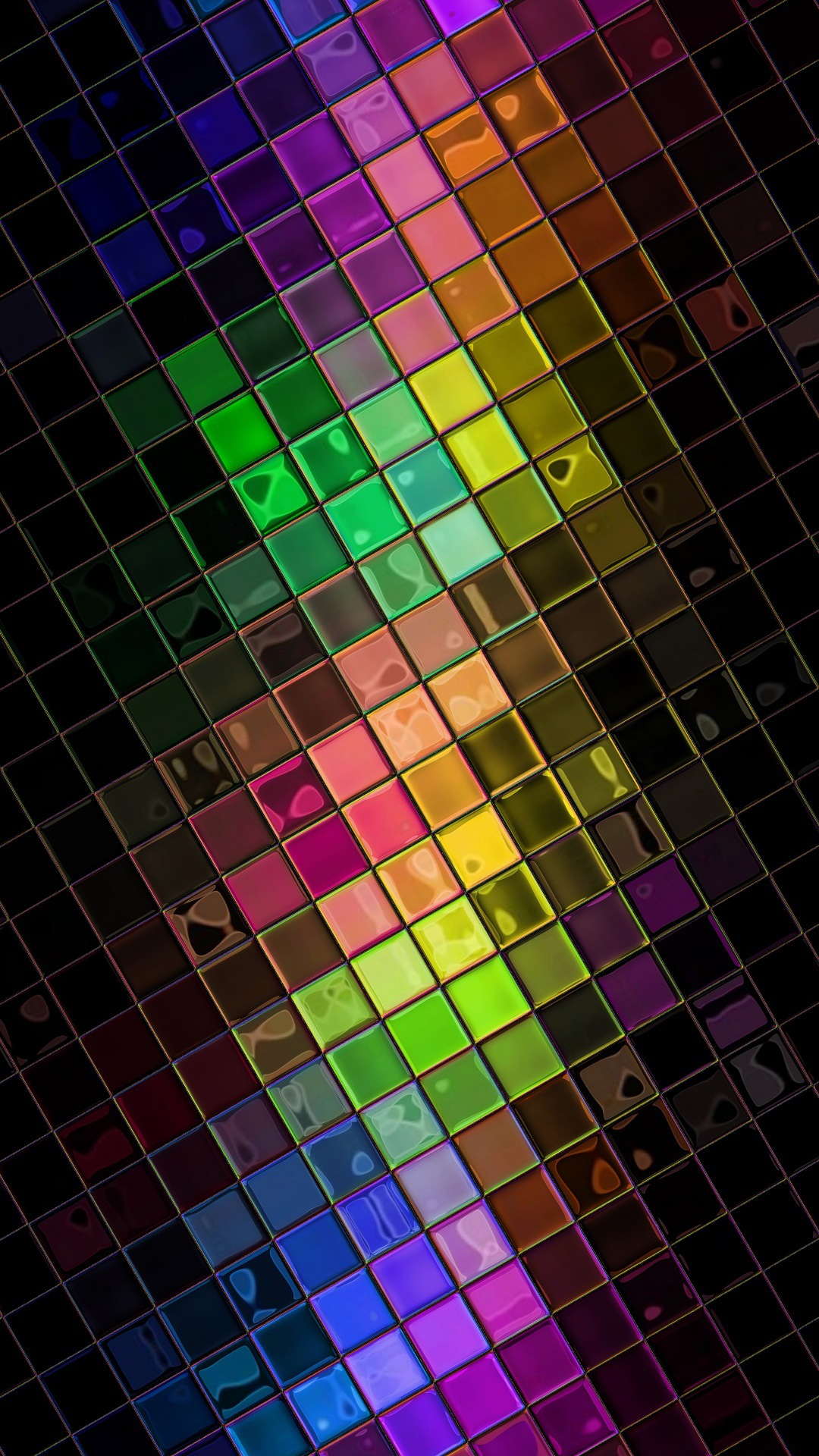 Colorful HD Squares Disco Ball Android Wallpaper download 1080x1920