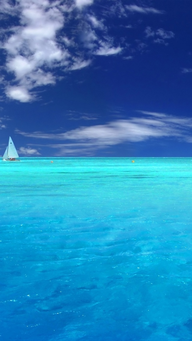 Light Blue Ocean and Sailboat iPhone 5 Wallpaper 640x1136 640x1136