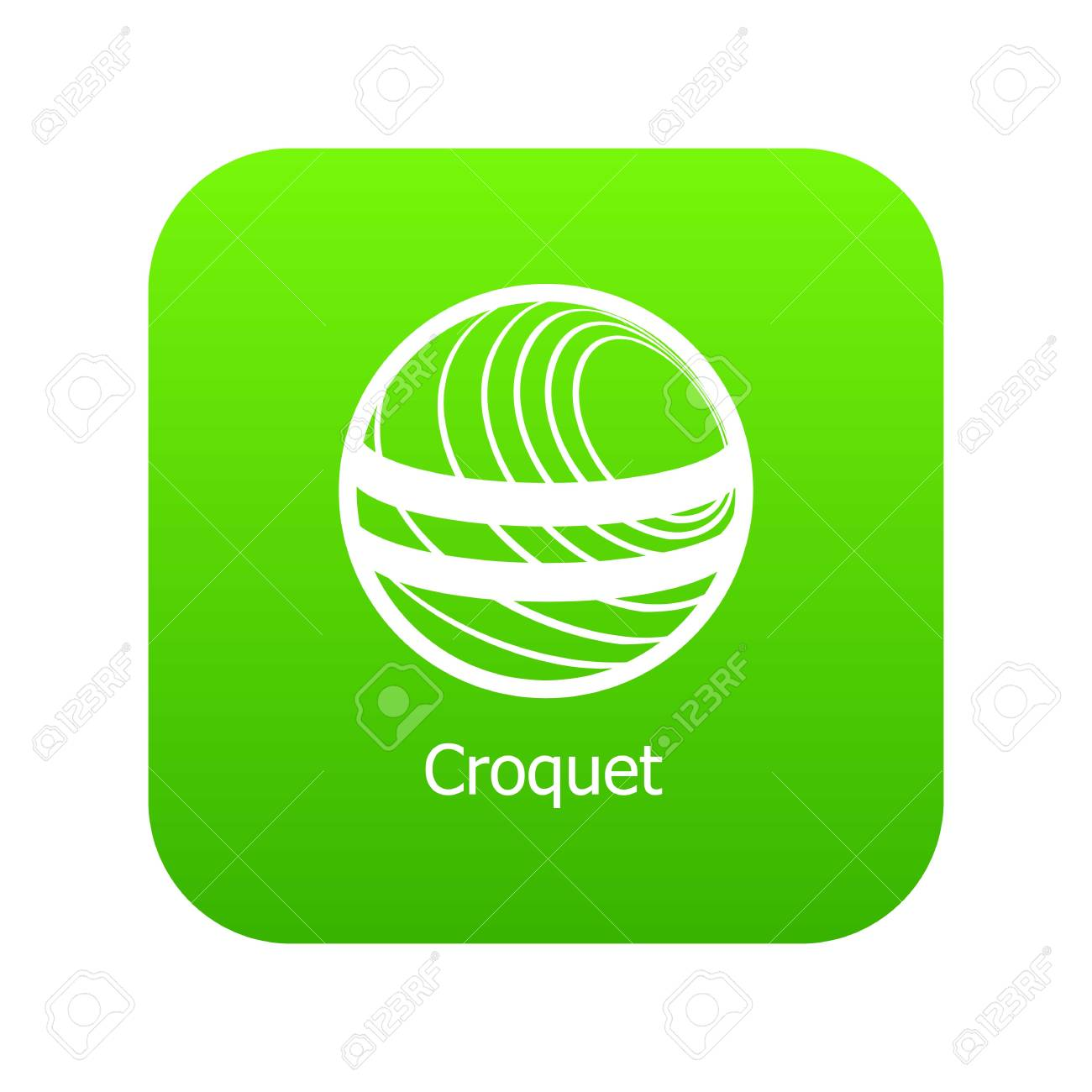 Croquet Icon Green Vector Isolated On White Background Royalty 1300x1300