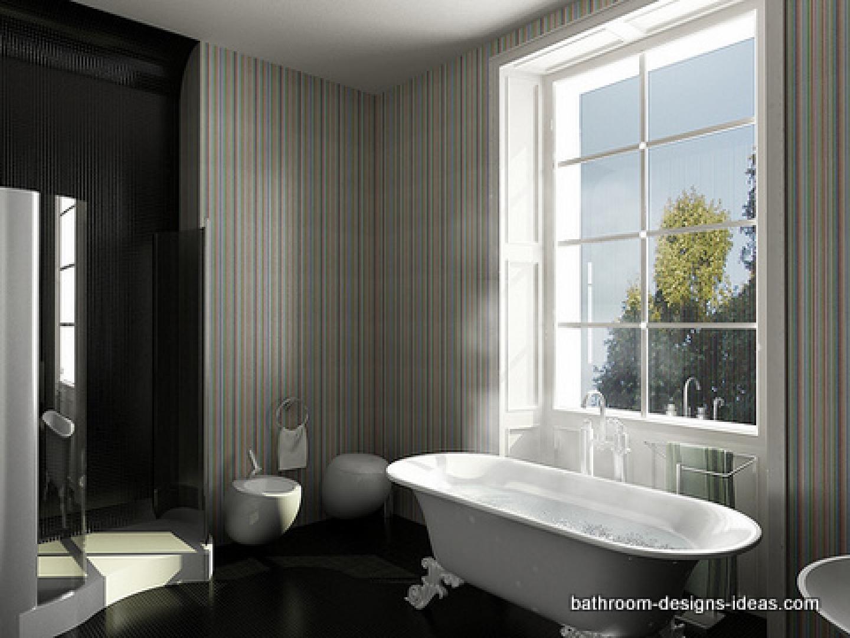 Stripe Bathroom Bathroom Wallpaper Stripes Stripe Wallpaper Bathtub  1440x1080
