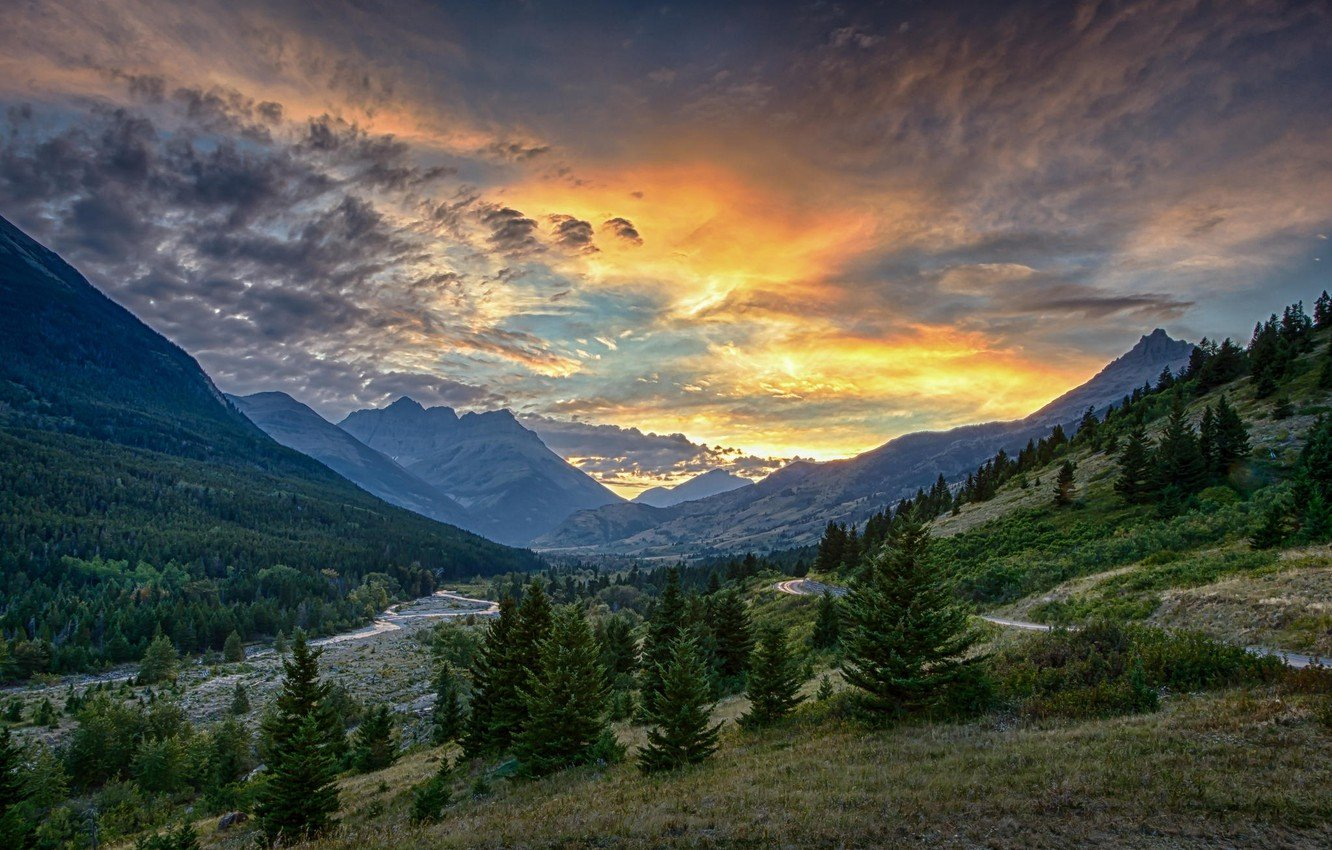 Wallpaper forest mountains sunset valley images for desktop 1332x850