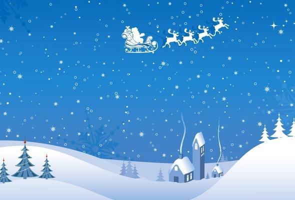 Wallpaper flight deer smoke snowfall santa claus house snow 590x400