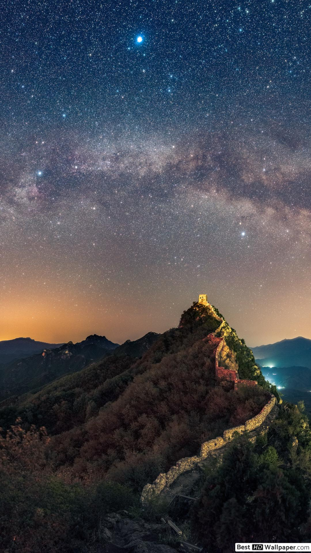 Starry night at the Great Wall of China HD wallpaper download 1080x1920