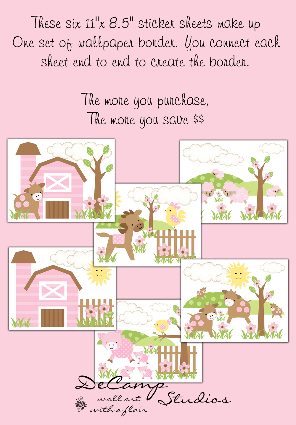 Wallpaper Border Wall Decals for baby girl farm nursery or childrens 1000x1434