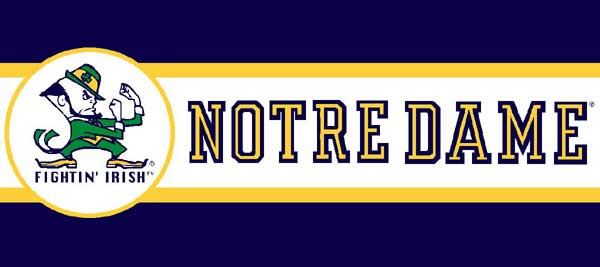 Notre Dame Fighting Irish 7 Tall Wallpaper Border 600x267