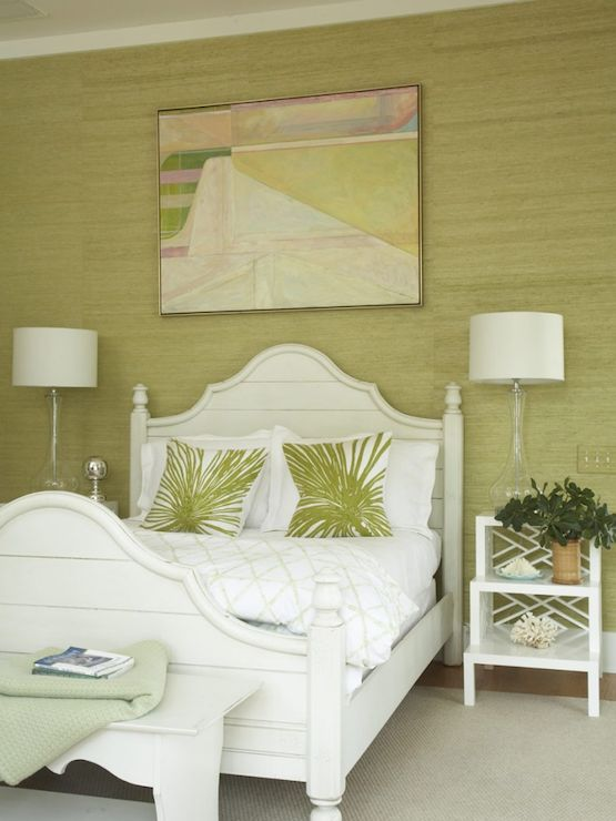 Amanda Nisbet Design   bedrooms   green grasscloth wallpaper white 555x740
