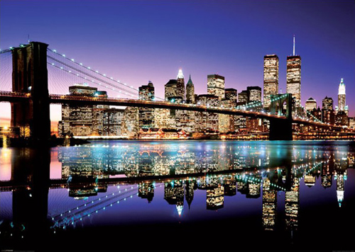 GIANT New York City Brooklyn Bridge Skyline at Night Mural Sized 500x356