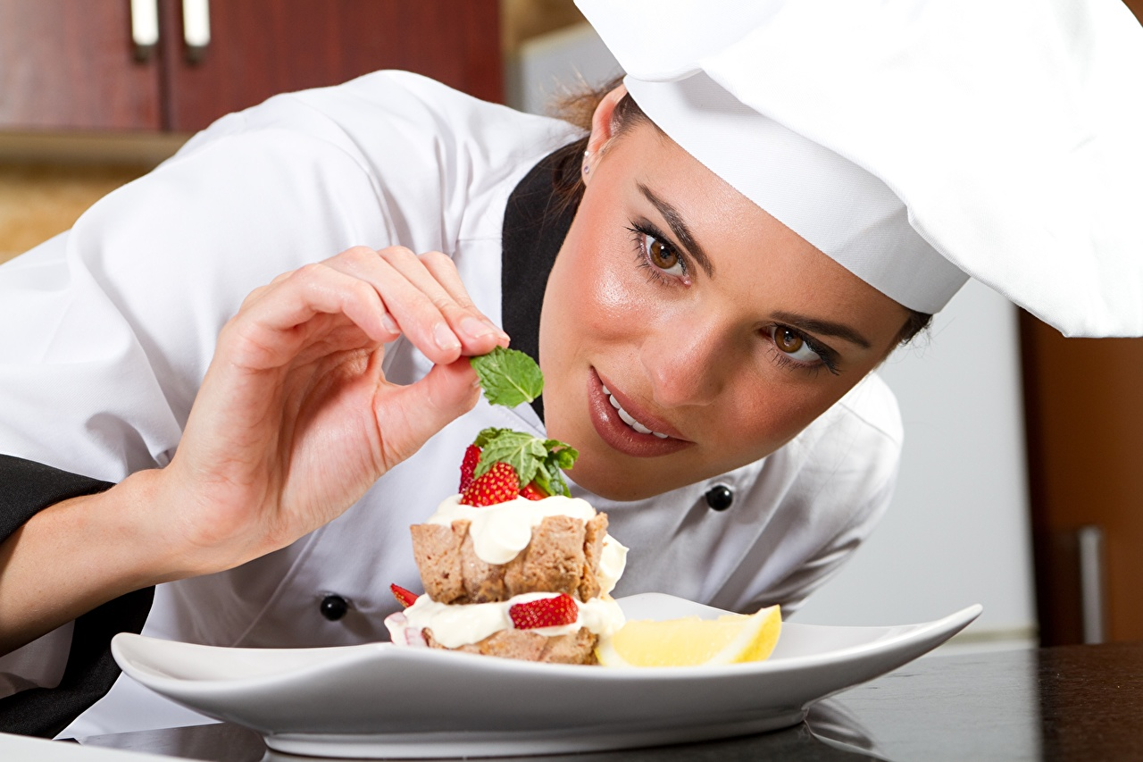Images female Dessert Food Cook Plate Uniform Glance 1280x853