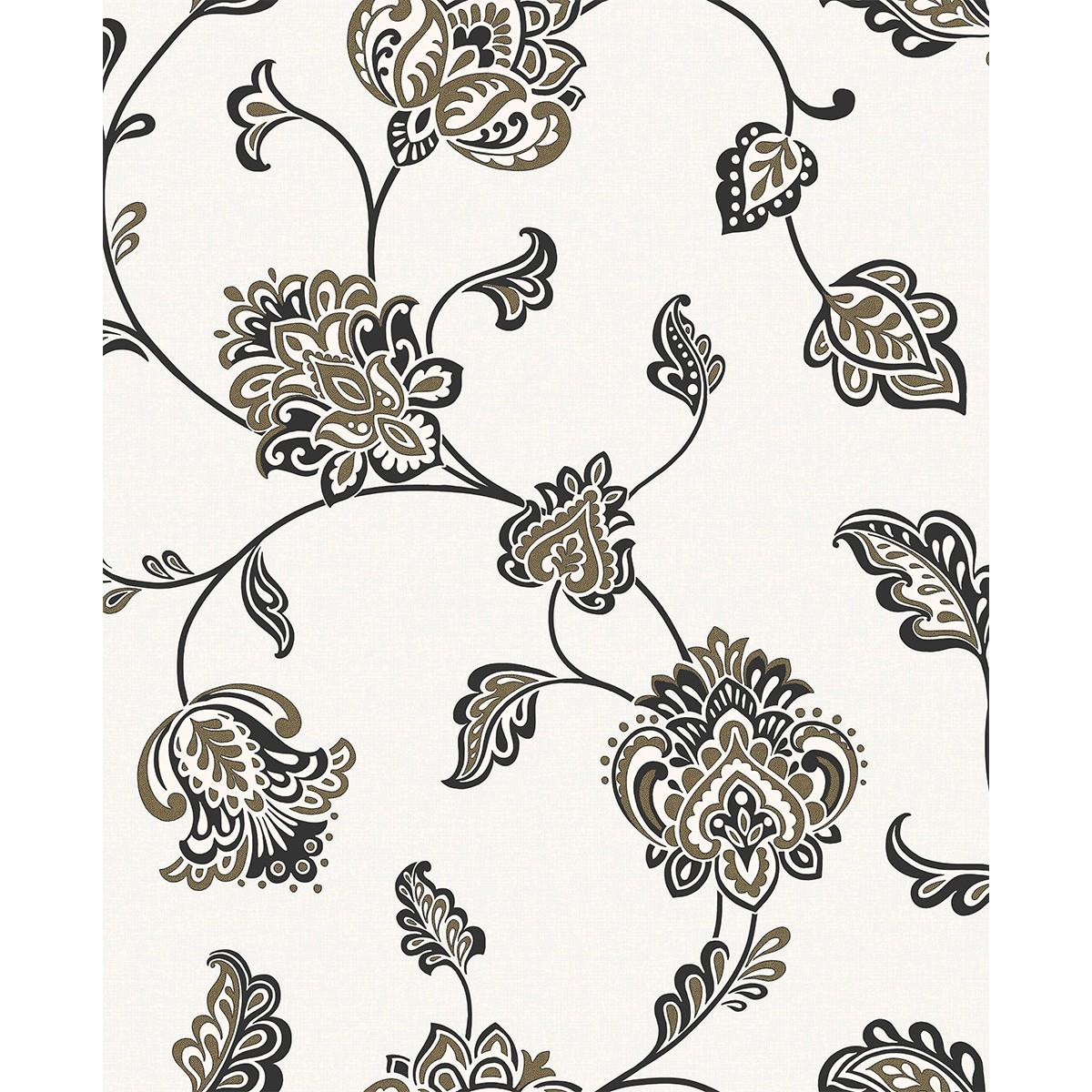 Brand Fine Decor Glamour Floral trail CreamBlackGold Wallpaper 1200x1200