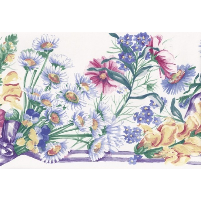 White Blue Ribbons Floral Wallpaper Border 700x700