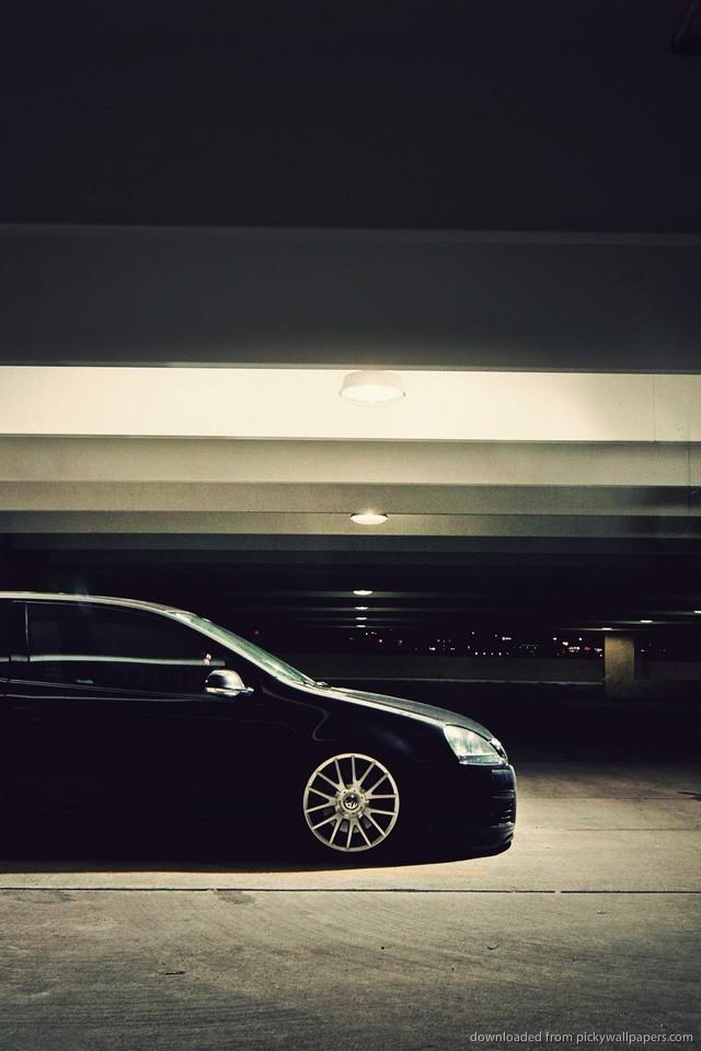 Volkswagen Iphone Wallpaper Black Volkswagen Golf Stance 640x960