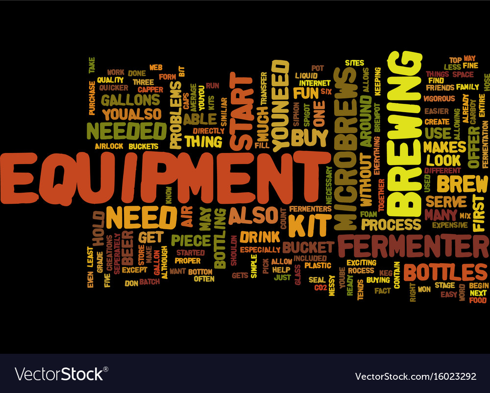 Equipment for microbrews text background word Vector Image 1000x802