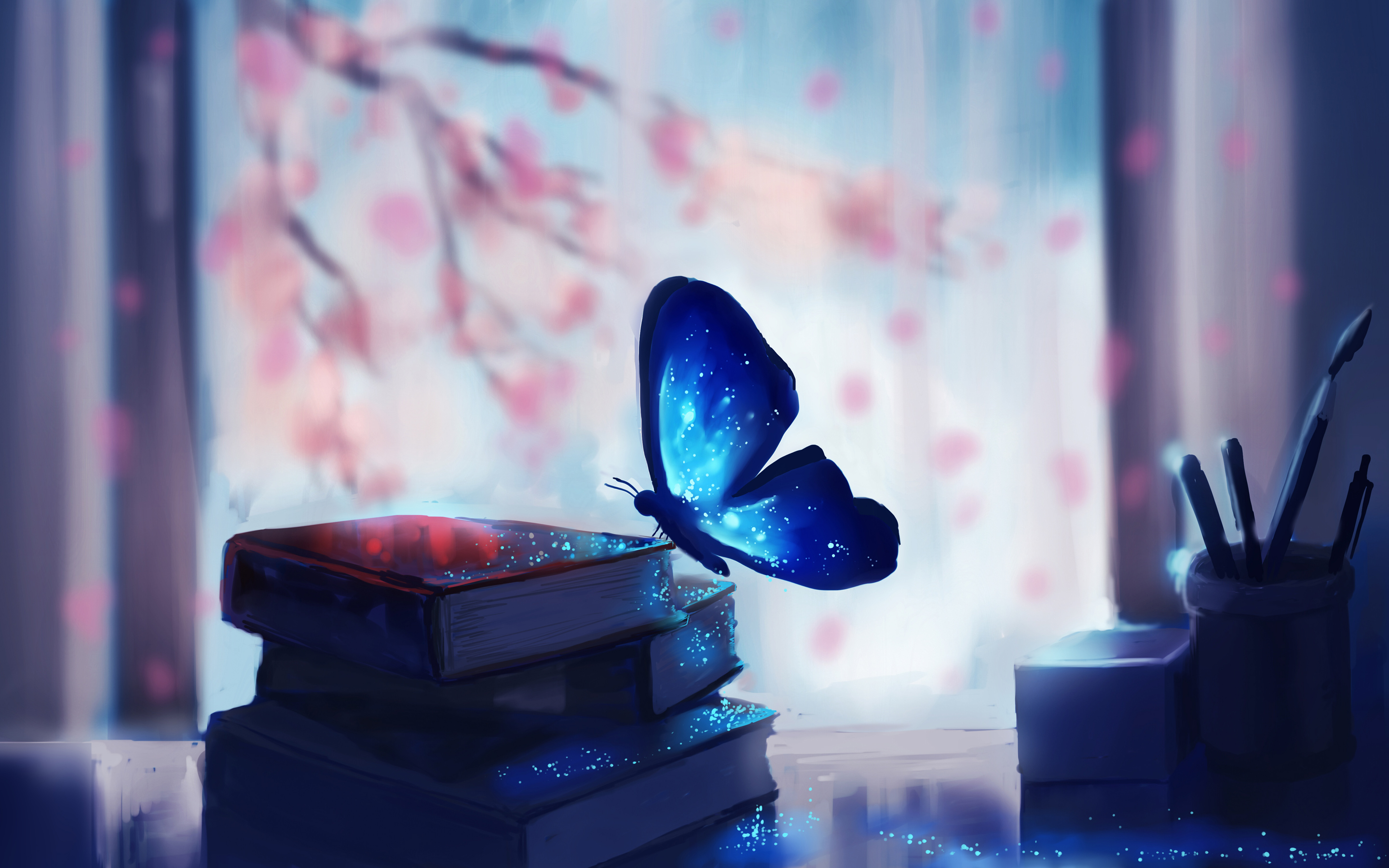 Blue Butterfly Books Art HD Wallpaper 2880x1800