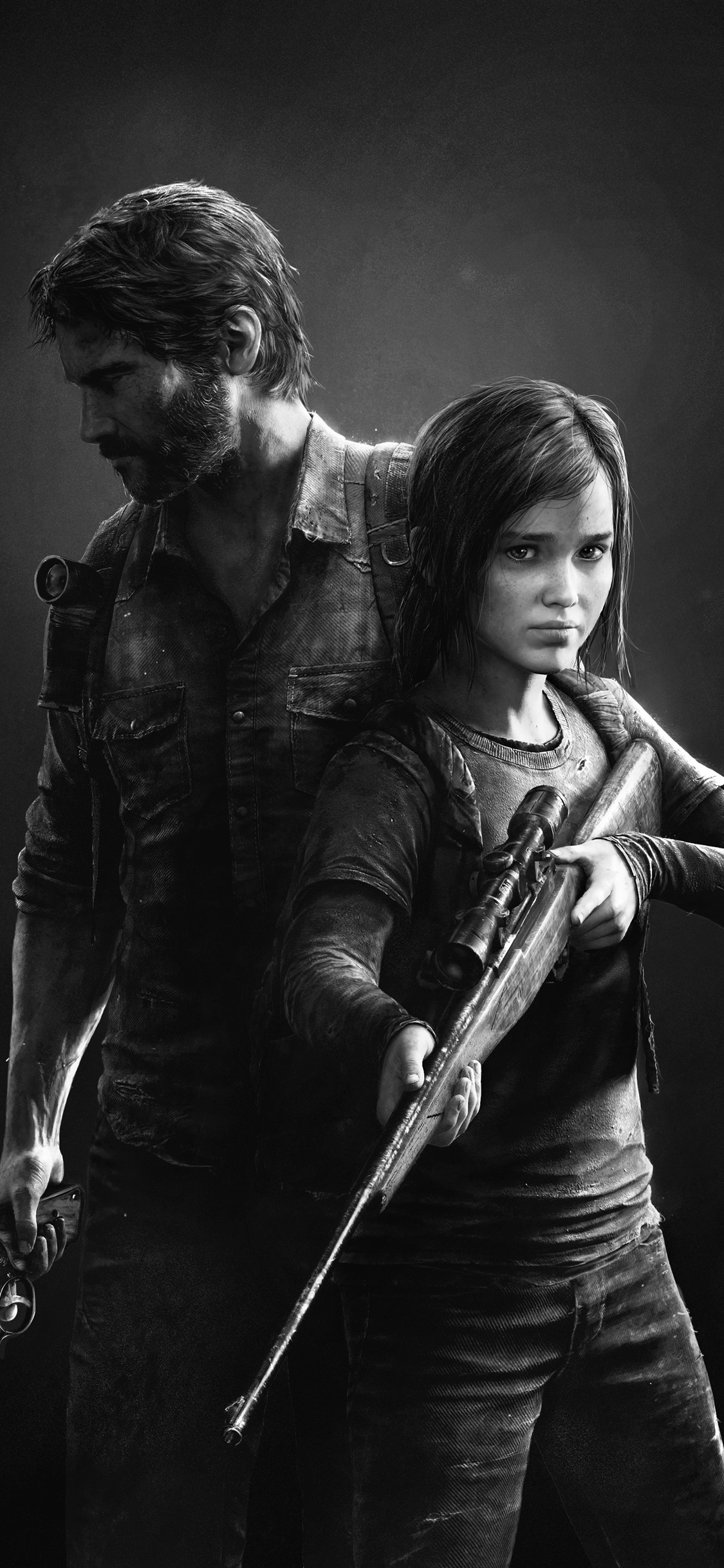 The Last of Us black and white picture 1242x2688 iPhone 11 ProXS 1125x2436
