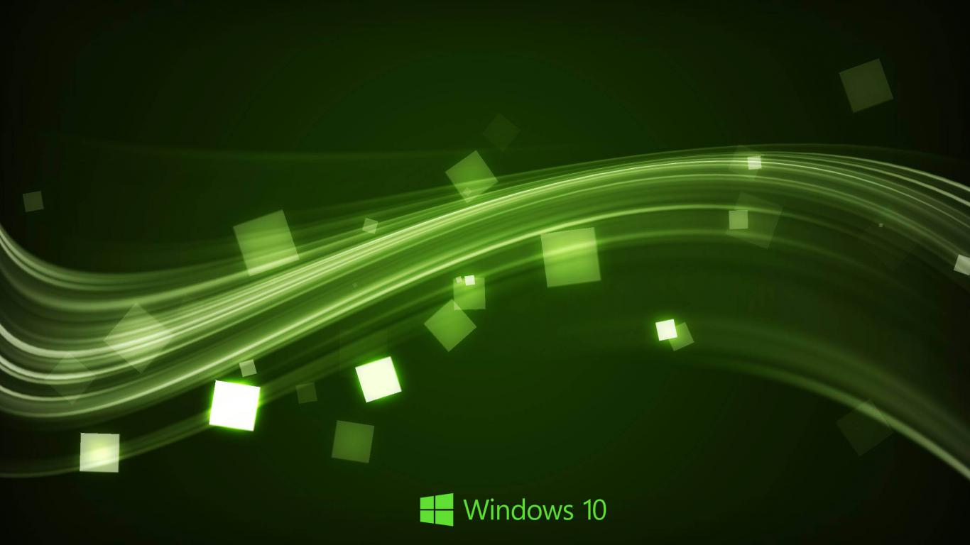 Windows 10 Wallpaper in Abstract Green Waves HD Wallpapers for 1366x768