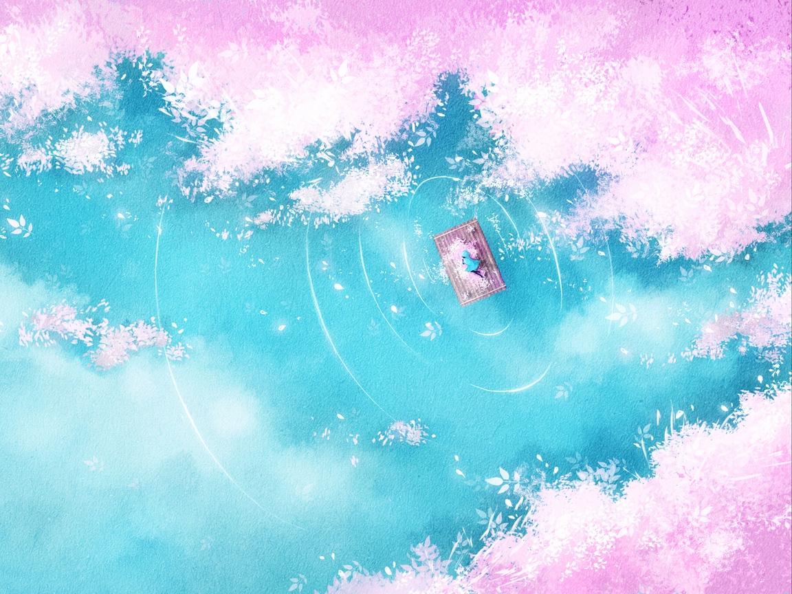 Download wallpaper 1152x864 lake raft silhouette shore art 1152x864