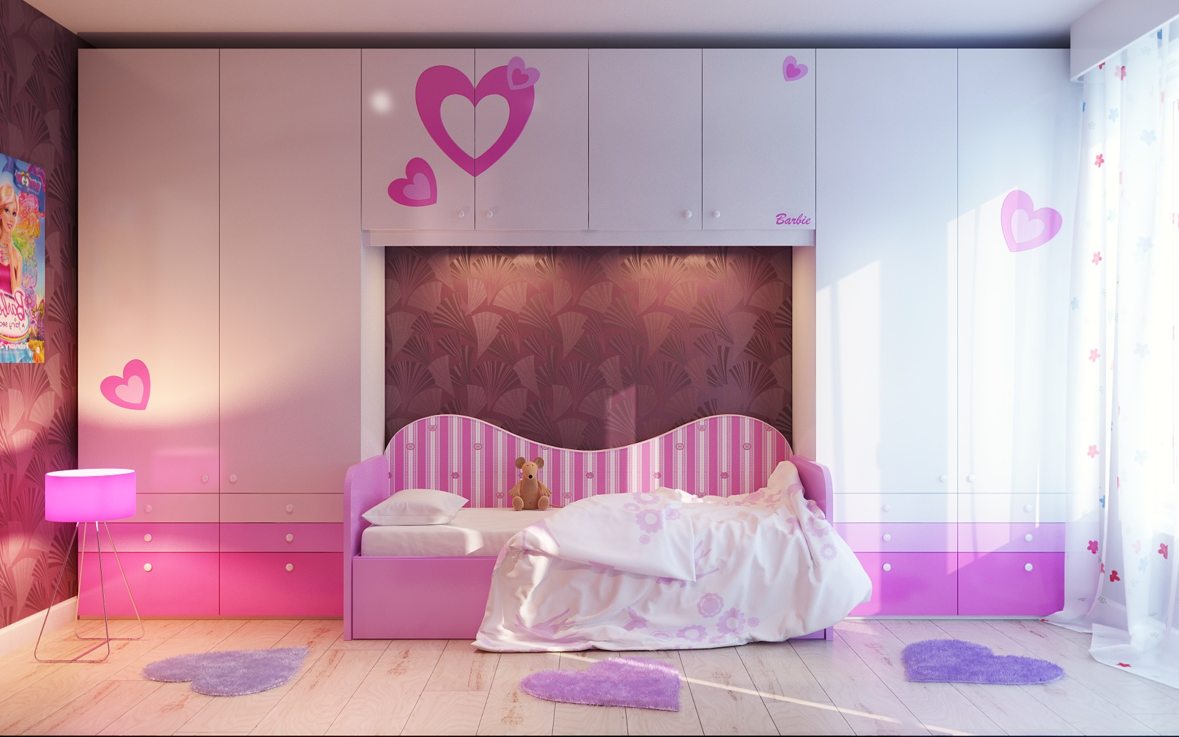 Via VladoMNA Barbie and heart themed room is at the pinnacle of girlie 1680x1050