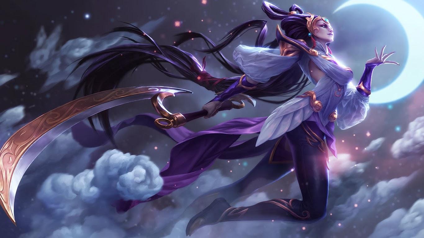diana lunar goddess league of legends hd wallpaper lol girl skin 1366x768